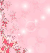 Hand draw background of pink butterflies. — Stockvektor