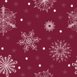 Seamless pattern of vector snowflakes in white and vinous. — Stock Vector