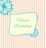 Retro style birthday card in pink and blue. — Stock Vector