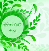 Abstract leafs background. Invitation card in green. — Stockvector