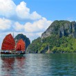 Exotic asian ship with red sails — Stock Photo