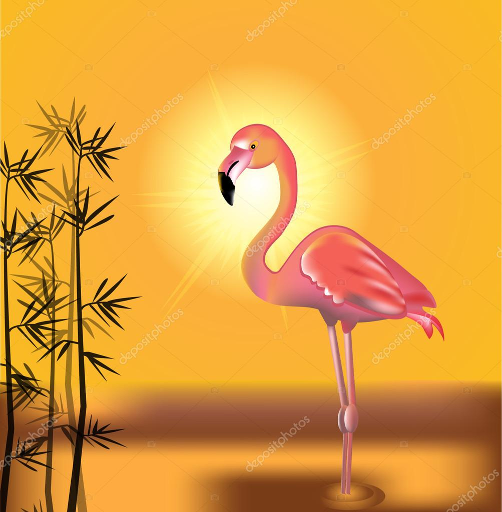 火烈鸟和棕榈叶壁纸