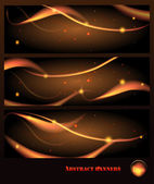 Set of abstract banners against a dark background — Stock Vector