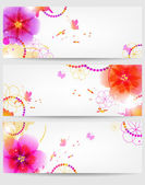 Banners with flowers a vector — Stock Vector