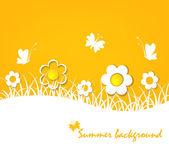 Koncepcja lato - jasne tło żółte kwiaty i motyle — Wektor stockowy