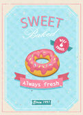 Vintage Donuts Poster. Vector illustration. — Stock Vector