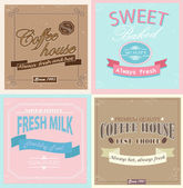 Set of retro label cards for vintage design, old paper textures and seamless patterns — Stock Vector