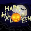 Stock vektor: Happy Halloween message design background