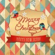 Typography Christmas Greeting Card. Merry Christmas. Vector Illustration. — Stock Vector