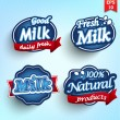 Stock Vector: Farm milk label, badge or seal