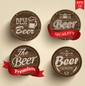 Set of beer product logo labels — Stock Vector