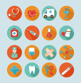 Conjunto de iconos planos médicos. — Vector de stock