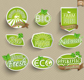 Natural organic product labels, emblems and badges — Stock Vector