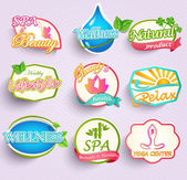 Stickers of beauty, spa, yoga, wellness — Stok Vektör