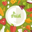 Healthy food and farm fresh concept, flat style — Stock Vector #47810013