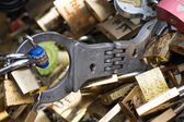 Love padlocks in Paris, France, Europe — Stock Photo