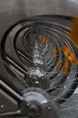 Alined bisiklet tekerlekler — Stok fotoğraf