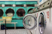 Row of wasing machine and clothes Dryers - Laundromat — Stock Photo