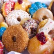 Assorted Colorful Donuts in Box — Stock Photo #24076549