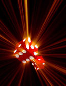 Red Dice with Light Beams — Stock Photo
