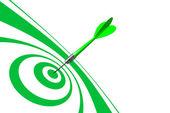 Bulls Eye Green Dart — Stock Photo