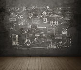 Drawing business concept on wall — Stock Photo