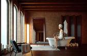красивая девушка в ванной комнате с зажженными свечами — Стоковое фото