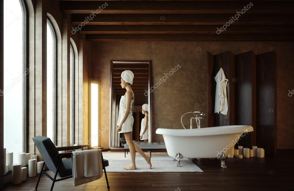 Красивые  девушка в ванной