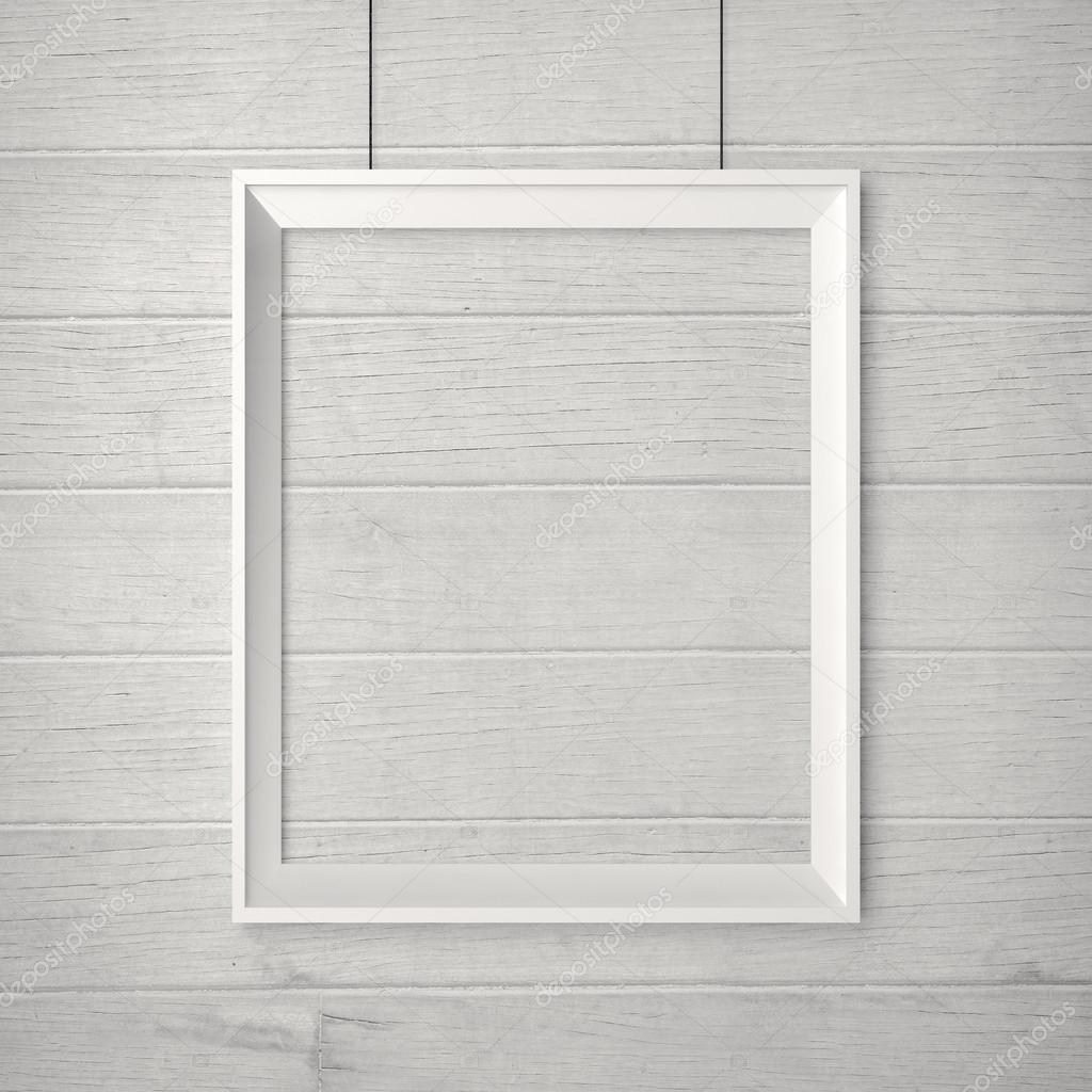 Blank Poster On Wall Blank frame on a wood wallEmpty Picture Frame On Wall