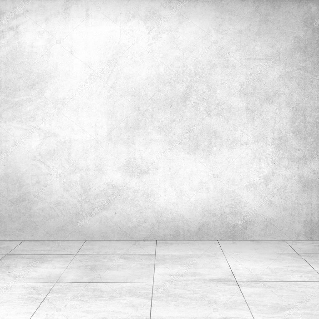 Muro di cemento bianco e pavimento di piastrelle in ceramica ...