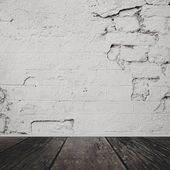Room interior vintage with white brick wall and wood floor background — Stock Photo