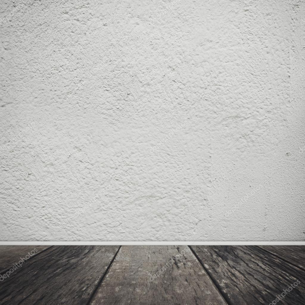 White wall with wooden floor. Vintage background — Stock ...