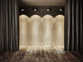 Vintage stage and curtain — Stock Photo