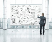 Businessman drawing business strategy on blank poster — Stock Photo