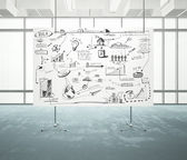 Flip chart with business strategy — Stock Photo