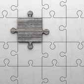 Jigsaw puzzle made of stone and one piece made of wood — Stock Photo