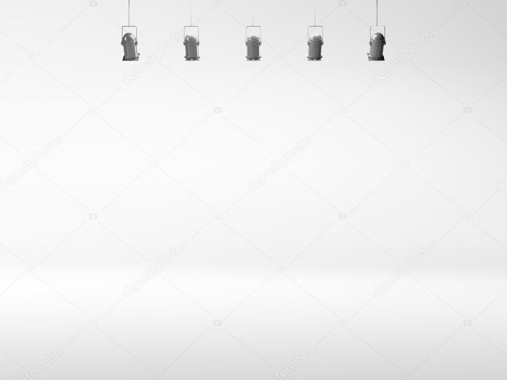 White Spotlight Background With Lamps Stock Photo