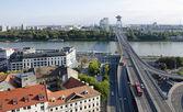 The top view of the Most SNP bridge in Bratislava — Photo