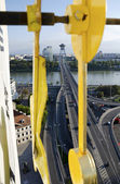 The top view of the Most SNP bridge in Bratislava through the clock hands — Stock Photo