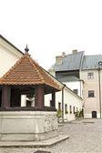 The courtyard of castle Cerveny Kamen in Slovakia — Stock Photo