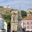 Постер, плакат: Mikulov the historic square with baroque Holy Trinity column