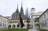 Brno, biskupský dvůr a gotická katedrála — Stock fotografie