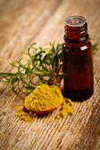 Fresh, powder and oil of rosemary — Stock Photo