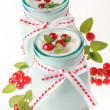 Redcurrant yoghurt with peppermint — Stock Photo