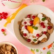Yogurt with wholegrain muesli and fruits — Stock Photo