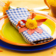 Stock Photo: Table setting in autumn colors