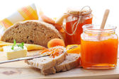 Apricot jam and bread — Stock Photo