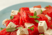 Salad with watermelon and cheese — Stock Photo
