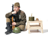 Soldier with submachine gun ppsh — Stock Photo