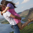 Couple  kissing in mountains — Stock Photo